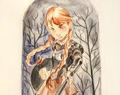 Original 9x12 Watercolor Painting Warrior Girl
