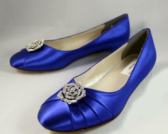 Royal Blue Wedding Flat- The Rosebud