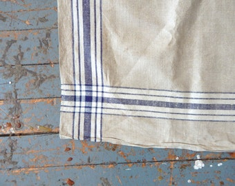 Antique Linen Runner European Mangel Cloth 3+ Yds Long  Blue & White Stripes