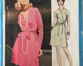 Vintage Vogue Americana 2281, One Piece Wrap Dress, V Neck, Chuck Howard, 1970's, Size 12, Bust 34, Uncut, No Label