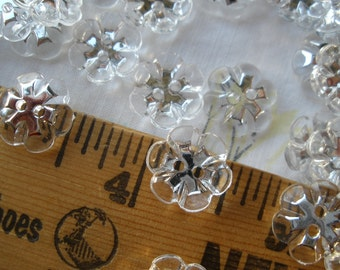 "Cool Clear Flower Buttons 1/2"" (13MM 20L) 2 hole plastic silver snowflakes scrapbooking sew on crafts crystal wedding paper tag supply"