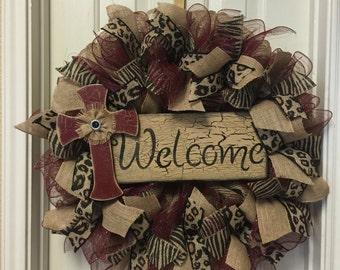 Fall Burlap Wreath Burgundy Animal Print Deco Mesh Welcome Wood Sign Cross