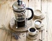 Eco friendly Crochet Jute Coasters, a Set of 6 and a trivet, Hot Pad, Rustic Kitchen, Burlap Home Decor, Natural Materials, Tea Time