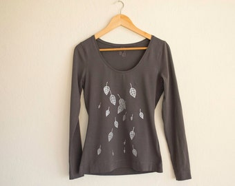 Grey T-Shirt with Silver Metallic Leaves Size M, Hand Painted Long Sleeve Jersey T-shirt, Nature Inspired Apparel
