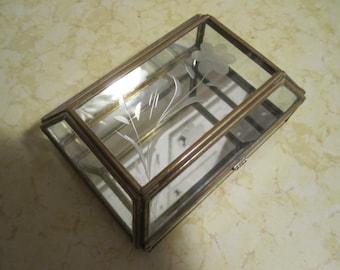 Brass and Etched Glass Mirror Bottom Trinket JewelryVintage Box