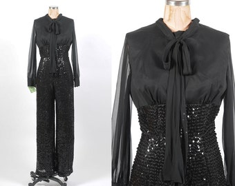 1970s pantsuit/ 70s sequin and chiffon one piece/ small