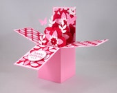 Birthday Greeting Card, Happy Birthday, For Her, Card-in-a-box, Box Card, Pink, Red, White, Flowers, Leaves, Butterflies, Blank