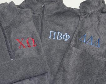 Fleece Pullover - Sorority Jacket - Pi Beta Phi - Alpha Phi - Kappa - Chi Omega - Tri Delt - Alpha Phi - Delta Gamma - Delta Zeta - Phi Mu
