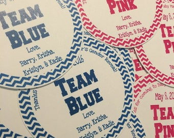 Team Pink and Team Blue Favor Tags