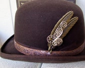 Brass Feather Hat Pin (HP600) Bronze Feathers, Silver Gears and Swarovski Crystals, Tie Tack
