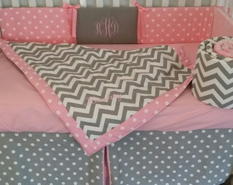 Chevron crib set - Baby bedding set,  3 piece set- custom made to order-embroidered, personalized, monogramed, quilt,bumper, and bed skirt
