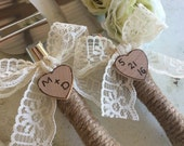 Jute and Lace Wedding Cake Server And Knife Set Rustic Country Chic