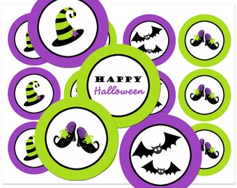 Halloween Purple and Lime Cupcake Toppers Printable - Instant Download - Glam Halloween Party Collection