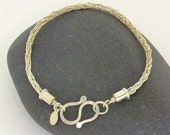 Hand woven sterling silver wire round Viking knit chain bracelet with custom end caps & forged S hook clasp