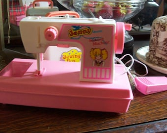 vintage JENNY toy sewing machine, pink plastic, made by Cantoys, free shipping in Canada and the United States