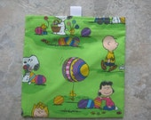 One Easter Snoopy, Charlie Brown, Lucy - Reusable Sandwich/ Snack Bag with tabs