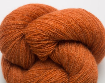 Bright Cayenne Heather Cashmere Lace Weight Recycled Yarn, Copper Heather Cashmere, 2317 Yards Available