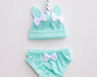 Mint Unicorn Baby Hat & Bloomers Set ON SALE