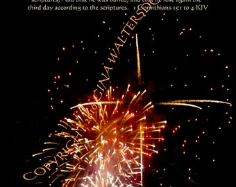 Cross Within Fireworks night photo gospel bible verse 1 Corinthians 15 1 2 3 4 black red gold Instant Download  Original Gina Waltersdorff