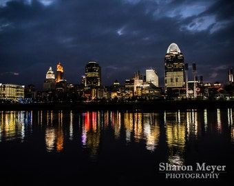 Cincinnati Skyline Print, Wall Decor, 8x10 Print, City of Cincinnati Print, Cincinnati Print, Landscape