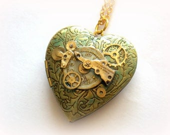 "Steampunk Heart Necklace Locket ""Enchantment"""