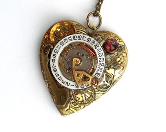 "Steampunk Heart Necklace Locket ""Love Throughout Time"" Valentine Necklace"