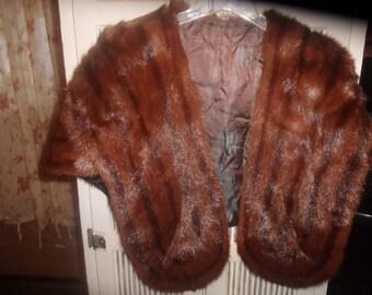 vintage genuine mink fur shrug cape shawl satin lined pockets