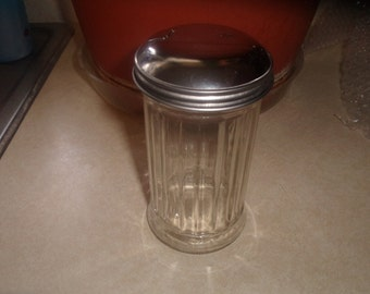 vintage glass sugar shaker original metal lid