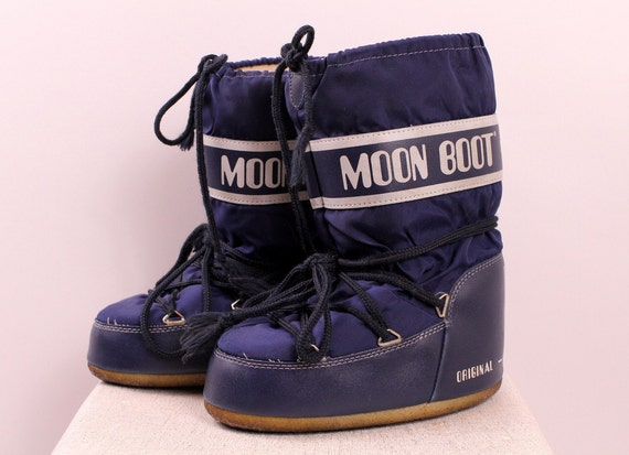 Vintage 70s 80s Original Moon Boots Technica Dark Blue
