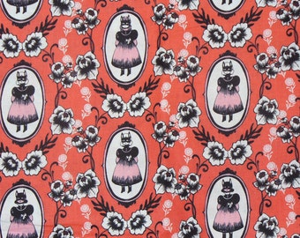 Halloween Fabric, Cotton and Steel, Halloween Portraits, Boo, Girls with Masks, Girls and Flowers,  By the Yard