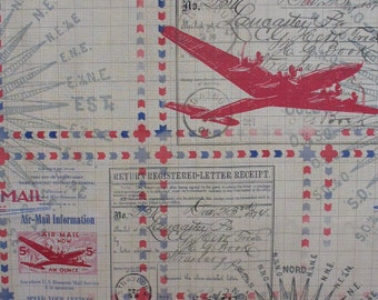 Tim Holtz Air Mail Fabric, In Transit, Plane and Mail, Correspondence, Eclectic Elements, Quilting Cotton, By the Yard, Tim Holtz