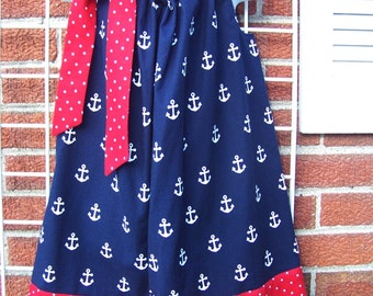 Anchor Dress, Nautical Pillowcase Dress, Red, White and Blue Dress, 4th of July, Patriotic, Summer Dress, Size 2T to 7