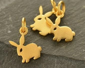 Tiny Bunny Charm - Bunny Charms - Gold Bunny Charm - Silver Bunny Charm