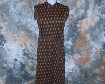 70s Shift Dress Brown Polka Dot Dress Brown Belted Dress Plus Size Vintage 1970s Sleeveless Dress Plus Size Dress Brown Shift Dress