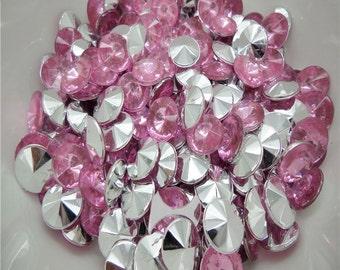 Pink Rhinestones-Round Bottom-10mm