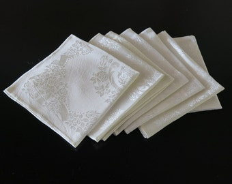 7 Napkins Silky White Rayon Damask Rose Design 16 by 16 Inches 191b