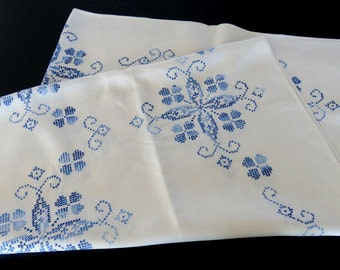 White Linen Tablcloth Variegated Blue Cross Stitch Pattern 795+