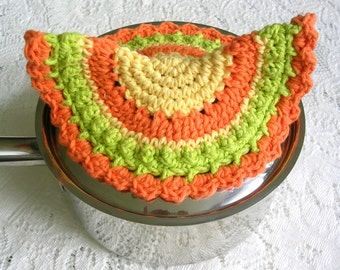 Lid Handle Crochet Potholder - Crochet Yellow Orange Green Hot Pad - Retro Kitchen Decor - Half Round Cotton Crochet Potholder