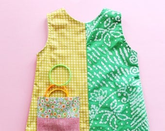 Lemonade girl summer dress. Size 4 years. Fresh, cotton and softened linen. Made in Italy. Ready to ship.