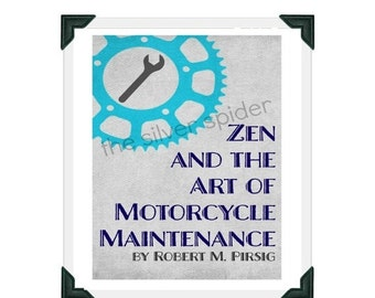 christmas in july sale // Zen and the Art of Motorcycle Maintenance inspired Book Cover Minimalist Art Print