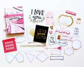 4x6 Pink Marbled Valentine's Day Anniversary Minibook Mini Album Scrapbook Kit Mini Journal Notebook Lovely Crate Paper Hello Love