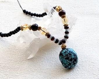 Turquoise,Citrine,Garnet,cord necklace