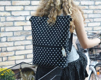Minimalist Backpack, Vegan City backpack, Polka dots rucksack, Laptop carrier, Convertible bag, gift for mom, birthday present