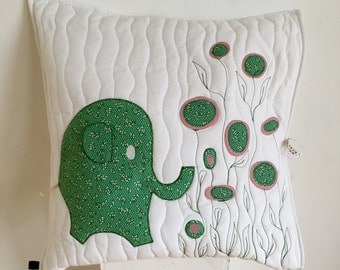 Elephant pillow in green and rose (appliqued) with 3D ear