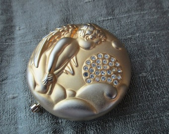 Estee Lauder mirror compact - angel, April, gold, rhinestones