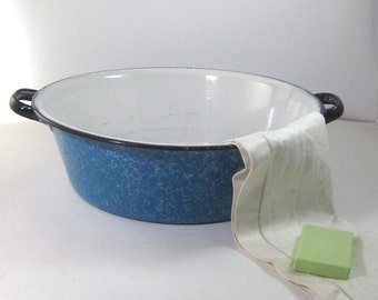 Blue Speckled Enamelware Wash Basin with Handles