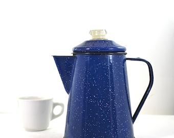 Blue Enamelware Vintage Coffee Pot