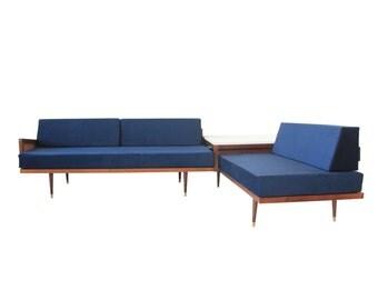 Vintage Mid Century Modern Navy Blue Sectional Sofa