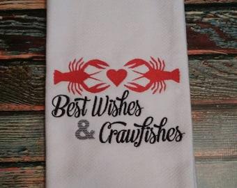 Crawfish Dish Towel, Kitchen Towel, Kitchen Decor, New Orleans Dish Towel, wedding gift