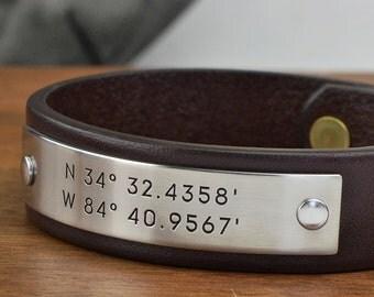 Mens Personalized Leather Bracelet - Custom Coordinates Latitude Longitude GPS Bracelet - Boyfriend Gift, Husband Gift